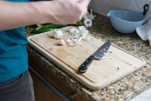 Chopping up the garlic
